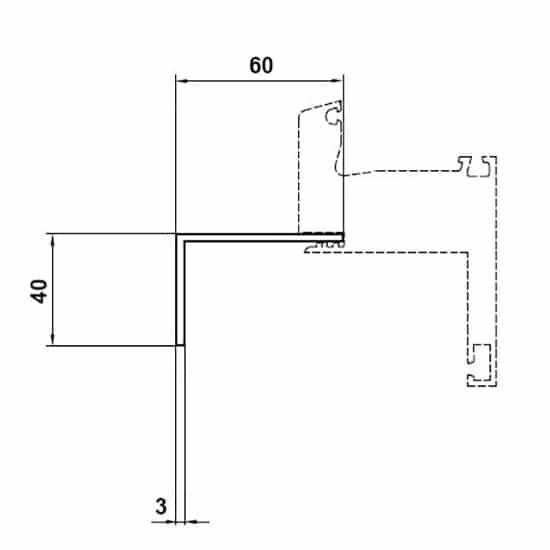 Fenêtres PVC accessoires cornière d'habillage 40x60mm